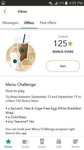 Starbuck's App Bonus Offer