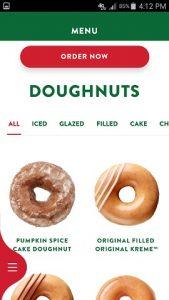 Krispy Kreme App Doughnut Menu
