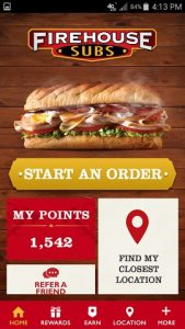 Firehouse Subs App Home Screen