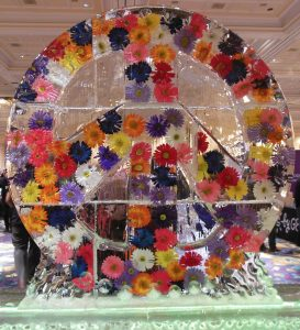 Digital Experience Flower Peace Sign Ice Sculpture