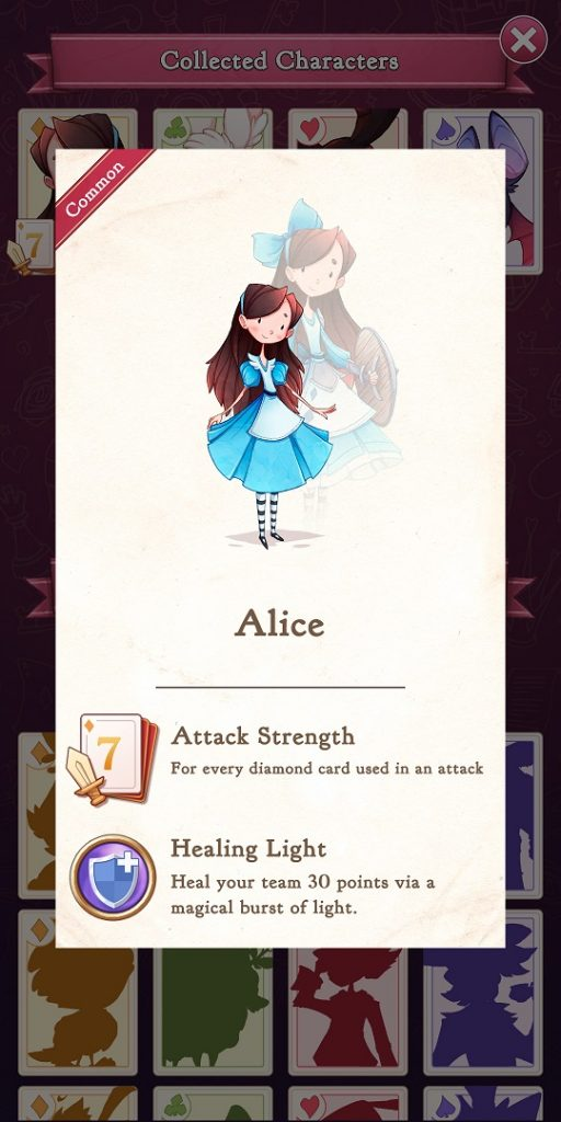 Alice Legends Alice Character Stats Card