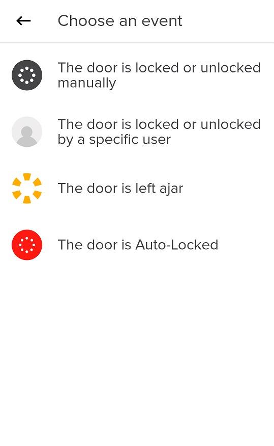August App Smart Alert Set-Up Screen