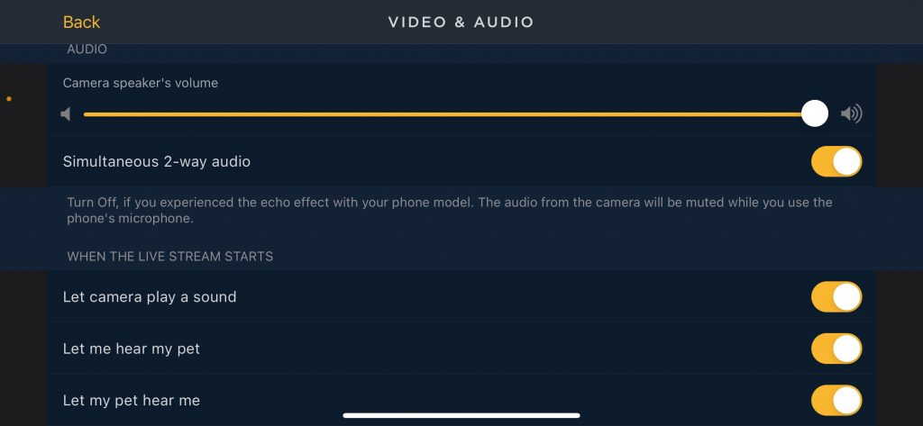 Petcube Bites 2 App Video and Audio Settings