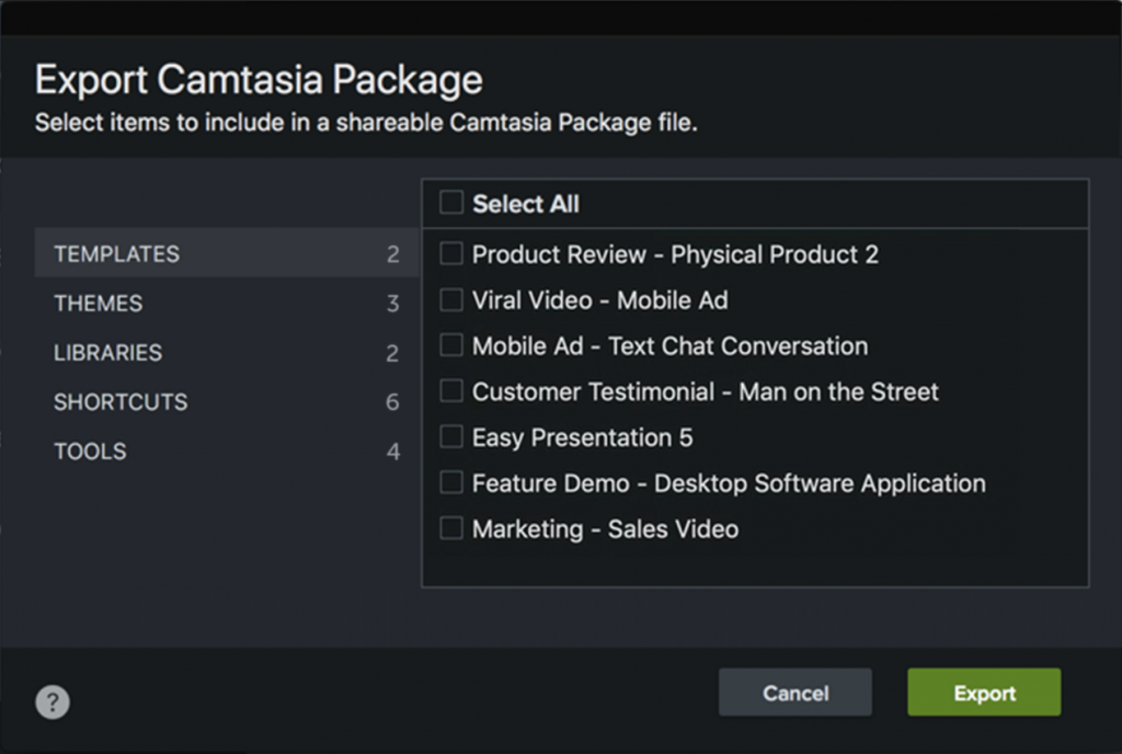 Shows Export Camtasia Package window