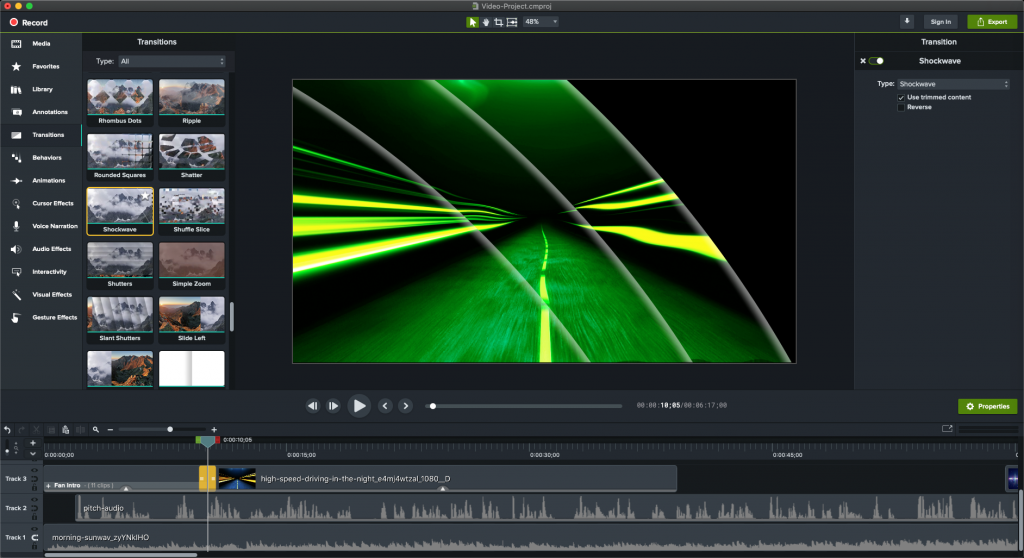 Shows window with visual effects